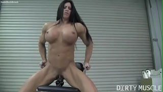 Naked female bodybuilder angela salvagno copulates a sex-toy