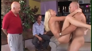 Husband watches blond dirty slut wife fuck some other chap