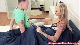 Tattooed stepmom with bigtits pussyfucked