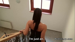 Tight czech secretary copulates pov in public