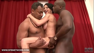 Interracial hardcore aged honey screwed by 2 dark ramrods doublepenetrated anal