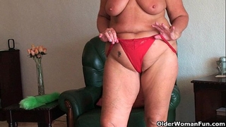 Chubby granny with saggy large bazookas and corpulent gazoo widens cum-hole