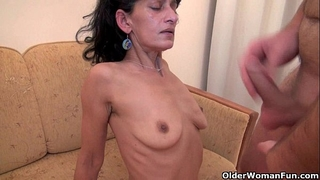 Hairy mama receives drilled by her toy guy