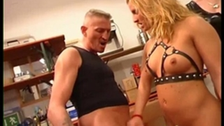 Dominatrix is coarse with her trainees
