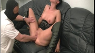 Hot brunette milf fisted by the builder
