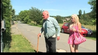 Blonde chick fucking an old fellow