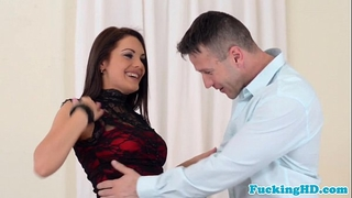 Euro honey tastes spunk after anal group sex