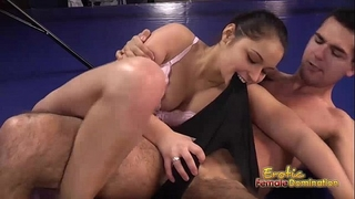 Lana the brunette hair boxer dominates her dude in the ring