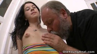 Olga has her boobs licked by aged dude