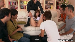 Japanese Married slut fucking and engulfing for supplementary money