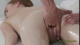 Pale redhead cum-hole fingered by masseur