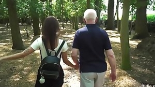 Hardcore old and young fuck between teen school girl and horny grandpa