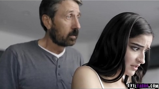 Sexy 18 yo daughter spanked together with fucked by dad!