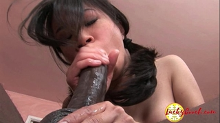 Damn nice-looking youthful oriental fuck love tunnel being impaled by giant dark jock
