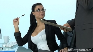 Sexy milf jasmine jae plays the office whore addicted to hard pecker