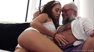 Young latin chick on much aged dick