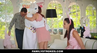 Familystrokes - cute legal age teenager drilled by easter bunny uncle