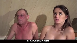 two virgins jump on grandpapa rod and copulates his brains out in three-some sex